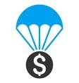 Financial Parachute Flat Icon vector image vector image