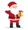 funny cartoon santa claus with gift box vector image