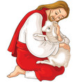 good shepherd rescuing a lamb caught in thorns vector image vector image