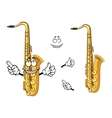 Happy cartoon saxophone instrument character vector image