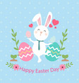 happy easter day bunny egg blue background vector image vector image