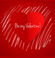 happy valentines day card with hand drawn white vector image vector image