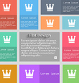 King Crown icon sign Set of multicolored buttons vector image vector image