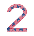 Number 2 made of USA flags on white background vector image vector image