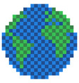 pixelated earth globe icon vector image