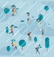 rainy day in park with people umbrellas vector image vector image