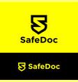 safe documents logo black letter s like shield vector image vector image