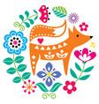 scandinavian folk art round pattern vector image vector image