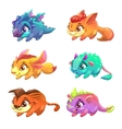 set cute cartoon little monsters vector image