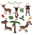 Set funny antelope vector image