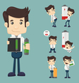 Set of businessman with battery vector image