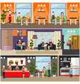 set of fast food flat posters banners vector image vector image