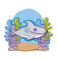 shark in sea cute cartoon vector image vector image