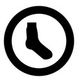 sock icon black color in circle vector image