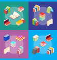 stack of color books banner card set isometric vector image vector image