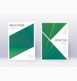 triangle cover design template set green abstract vector image