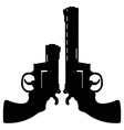 Two black revolvers vector image
