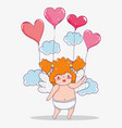 valentine day celebration and cupid with hearts vector image vector image
