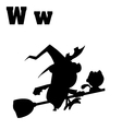 Witch and cat on broom cartoon vector image vector image