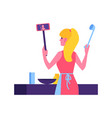 woman in apron cook vlog concept vector image