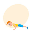 young man doing push ups sport exercises vector image vector image