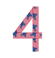 Number 4 made of USA flags on white background vector image