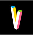 3d colorful letter v logo icon design template vector image