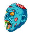a cartoon blue zombie head vector image vector image