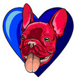 a dog in love shape logo and character vector image