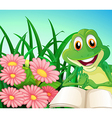 A frog with a book at the garden vector image vector image