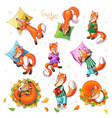 awesome set with cute cartoon sleeping foxes vector image vector image