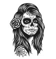 black and white skull girl vector image