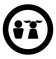 boy and girl icon black color in circle vector image vector image