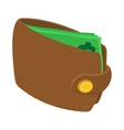 Brown wallet with card and cash icon vector image vector image