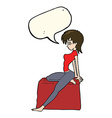 cartoon pin up pose girl with speech bubble vector image vector image
