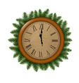 clock with fir tree vector image