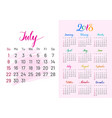 colorful planner 2018 july separately vector image vector image