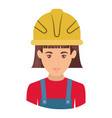 colorful portrait half body of female worker with vector image vector image