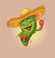 cool cactus character vector image
