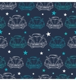 Dark Blue Vintage Cars Stars Drawing vector image