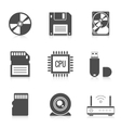 Digital storage data icons vector image