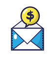 e-mail text message and chat bubble with dollar vector image
