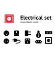 Electric plug adapter socket base icon set vector image vector image