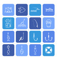 fishing thin line icons set vector image vector image
