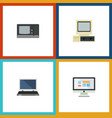 flat icon laptop set of notebook computer vector image vector image