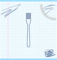 fork line sketch icon isolated on white background vector image