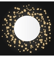 Gold star sparkles on black background with white vector image vector image