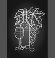 Graphic glass of wine bottle and bunch of grapes