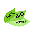 Green Label with Tag 100 Bio Product vector image