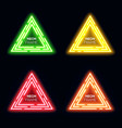 green yellow red orange neon light triangles set vector image